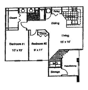 900 sq. ft. 60% floor plan