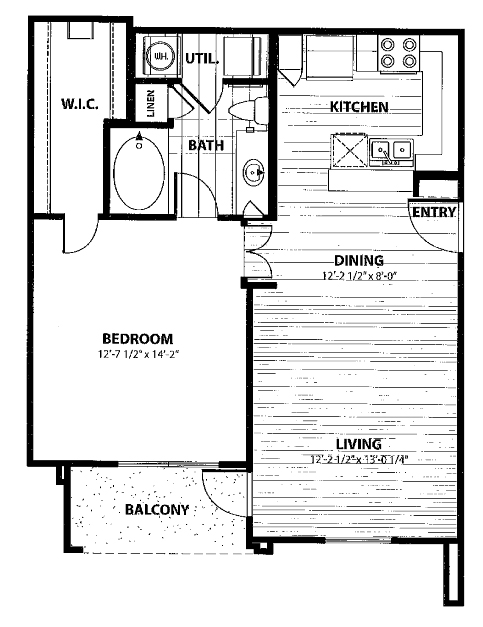 720 sq. ft. B1 floor plan