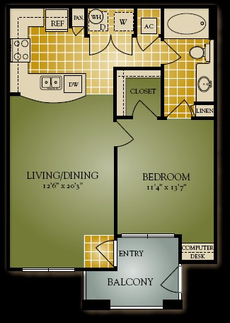 712 sq. ft. Hollyhock floor plan