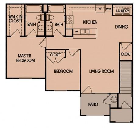 997 sq. ft. 60% floor plan