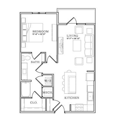 723 sq. ft. floor plan