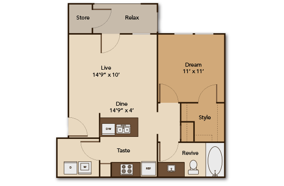 661 sq. ft. GARDEN A1 floor plan
