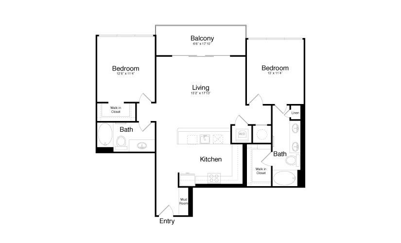 1,187 sq. ft. B2 floor plan