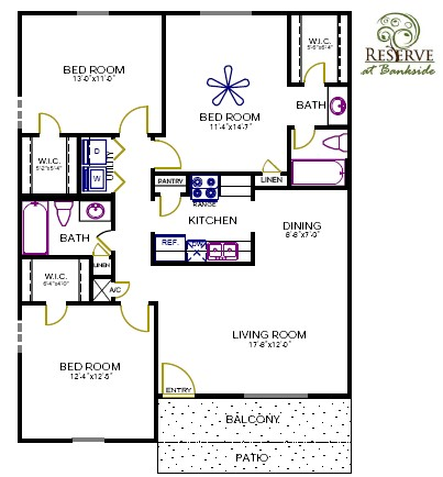 1,182 sq. ft. Yupon floor plan