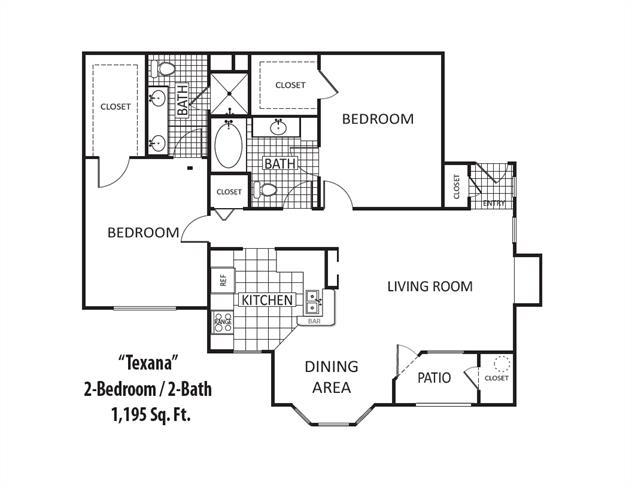 1,195 sq. ft. floor plan