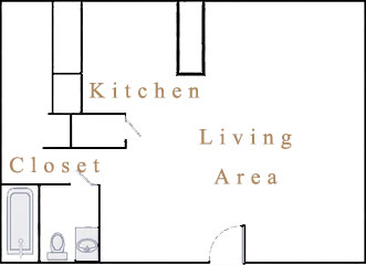 378 sq. ft. S1 floor plan