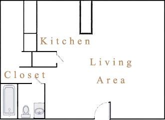 378 sq. ft. S1 floor plan