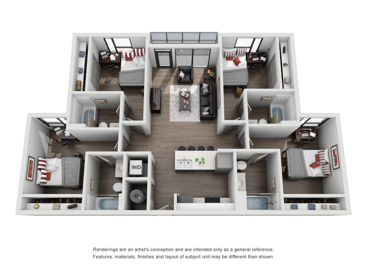 1,252 sq. ft. D1-Maverick floor plan