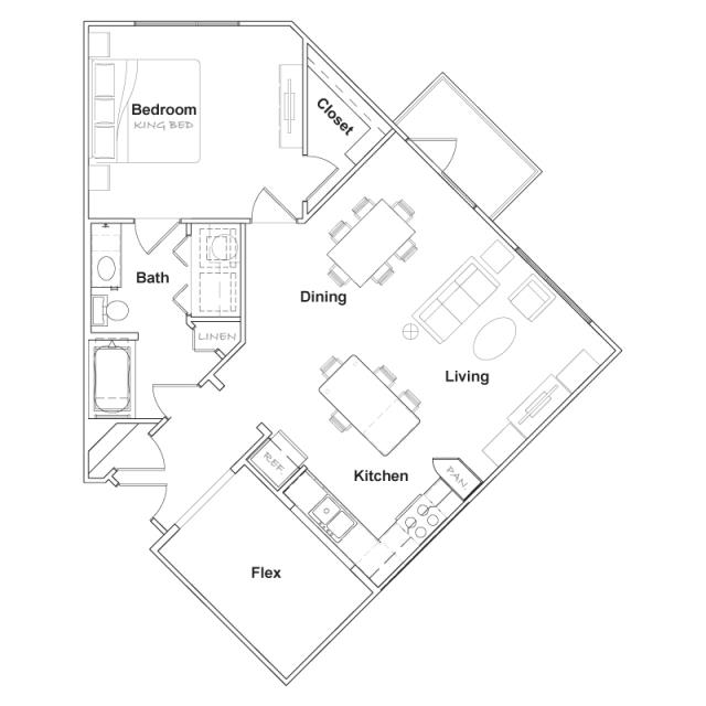 971 sq. ft. A5- floor plan