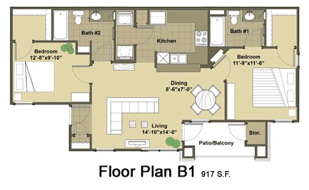 917 sq. ft. Sydney floor plan