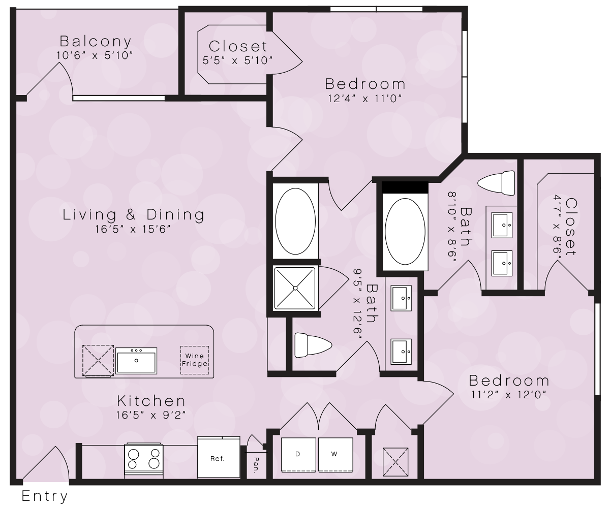 1,073 sq. ft. B4 floor plan