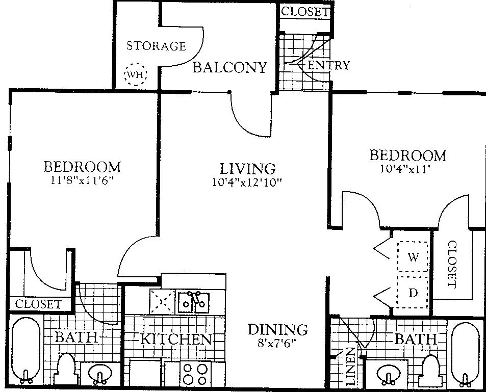 898 sq. ft. B2-1 floor plan