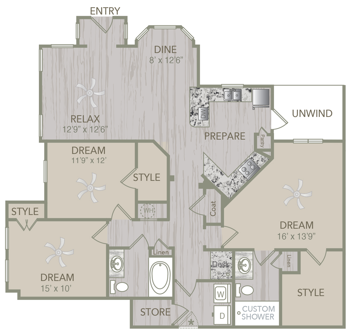 1,508 sq. ft. C1L floor plan