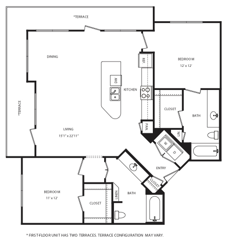 1,192 sq. ft. B8 floor plan