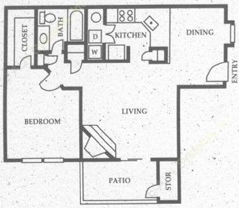 735 sq. ft. A5 floor plan