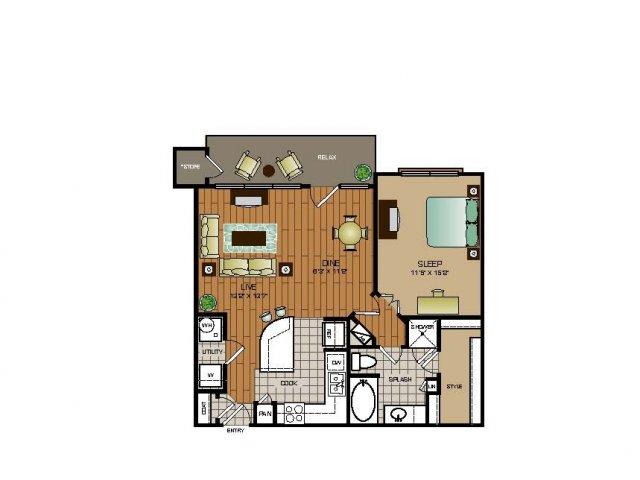 807 sq. ft. A1 FLAT floor plan