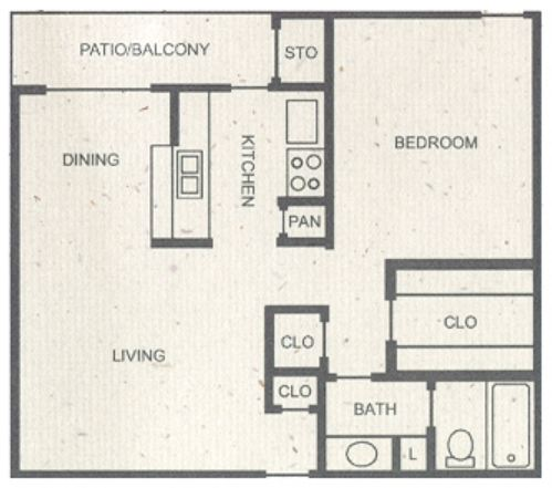 697 sq. ft. B floor plan
