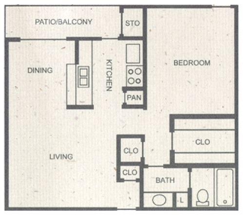 697 sq. ft. B floor plan