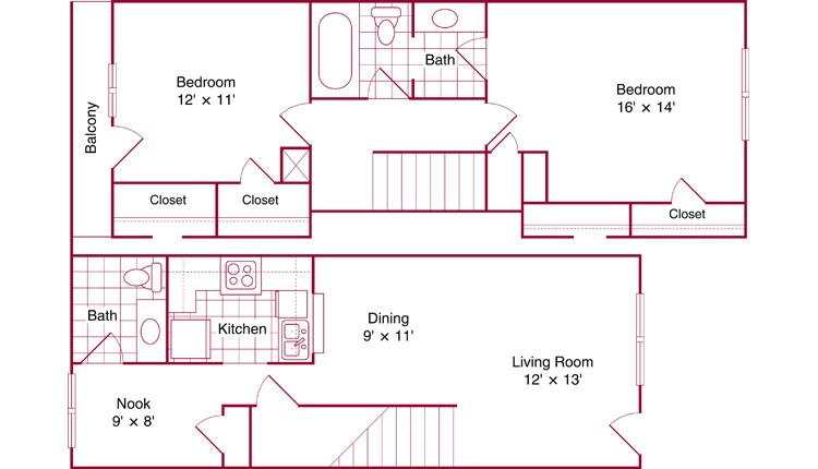 1,059 sq. ft. St Charles floor plan