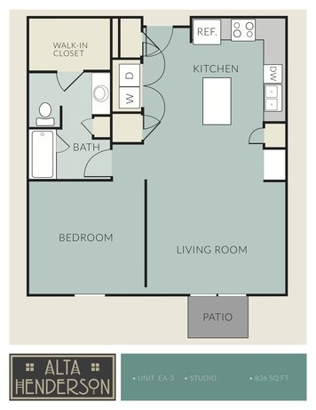 836 sq. ft. EA-3 floor plan