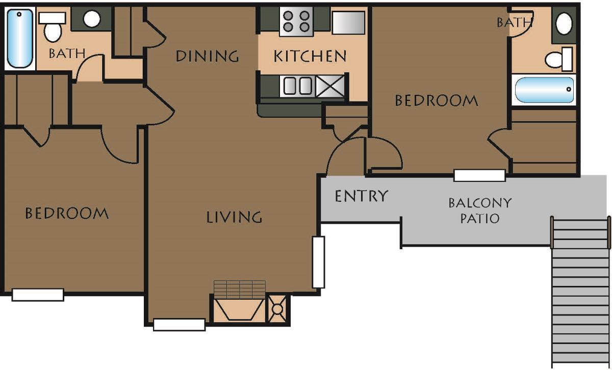 889 sq. ft. B-2 floor plan