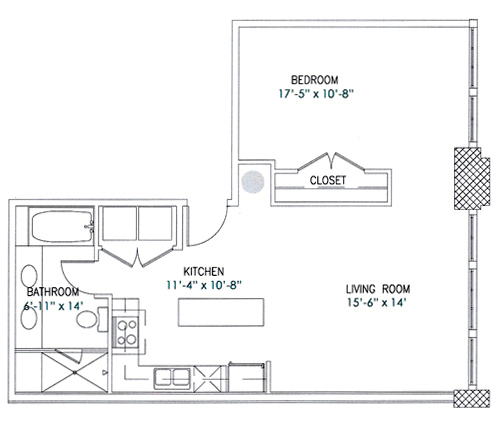 776 sq. ft. Cameo floor plan