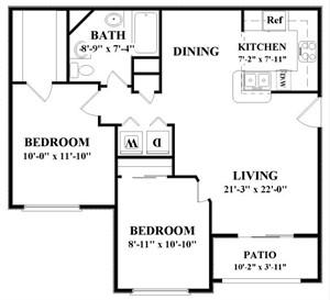 925 sq. ft. C floor plan