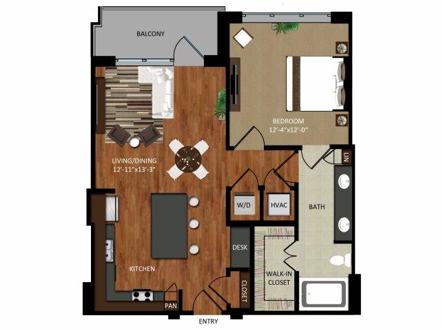 762 sq. ft. A3 floor plan