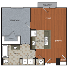 881 sq. ft. A2 floor plan