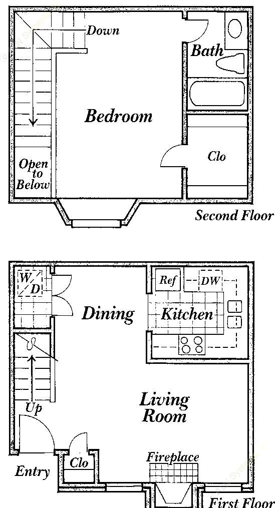 710 sq. ft. C floor plan
