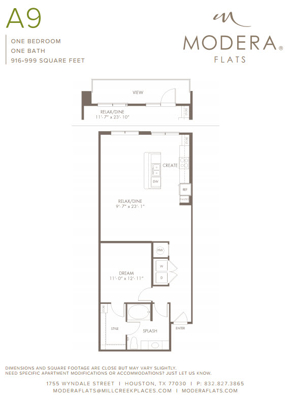 944 sq. ft. A9 floor plan