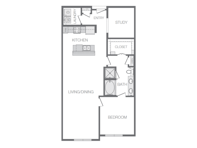 1,087 sq. ft. to 1,105 sq. ft. A8 floor plan