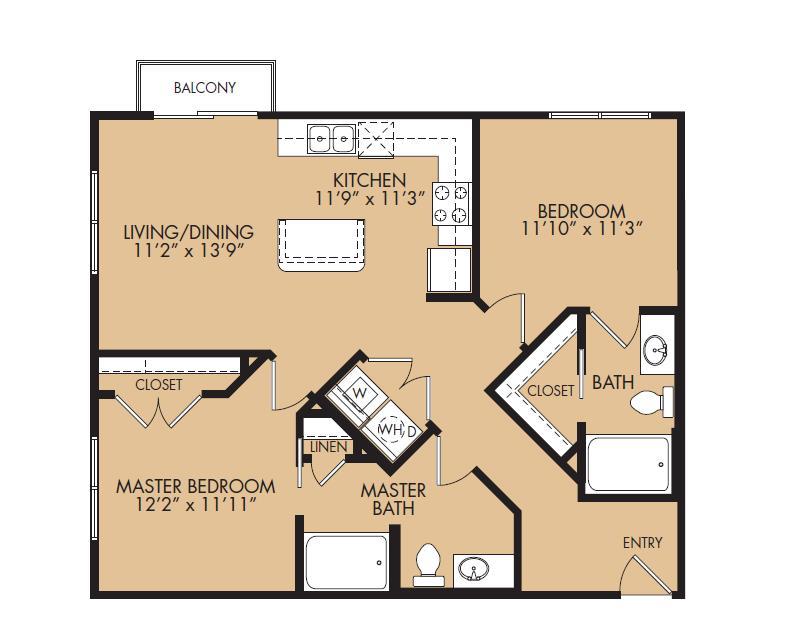 957 sq. ft. B3-Zenith floor plan