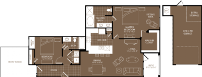 1,260 sq. ft. Paris floor plan