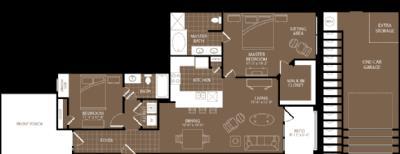1,260 sq. ft. Paris floor plan