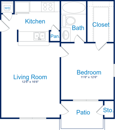 609 sq. ft. A-1 floor plan