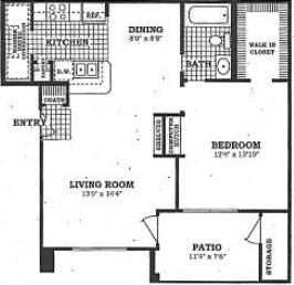 747 sq. ft. A2 floor plan