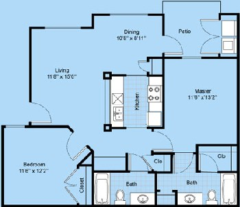 954 sq. ft. B2-Maricopa floor plan