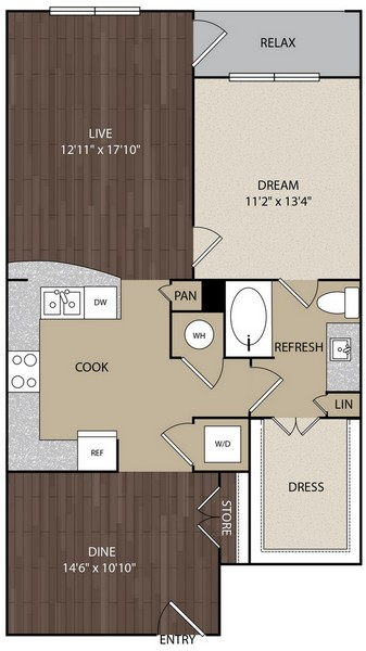 917 sq. ft. A8 floor plan