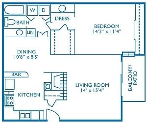 833 sq. ft. Mulligan floor plan