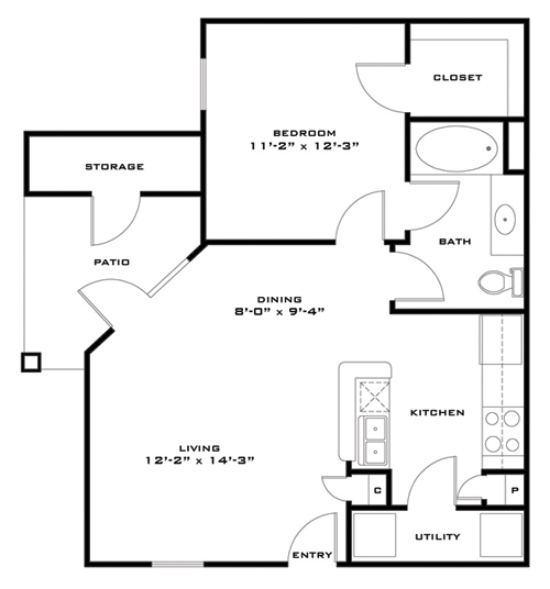 661 sq. ft. 50%/Morgan floor plan