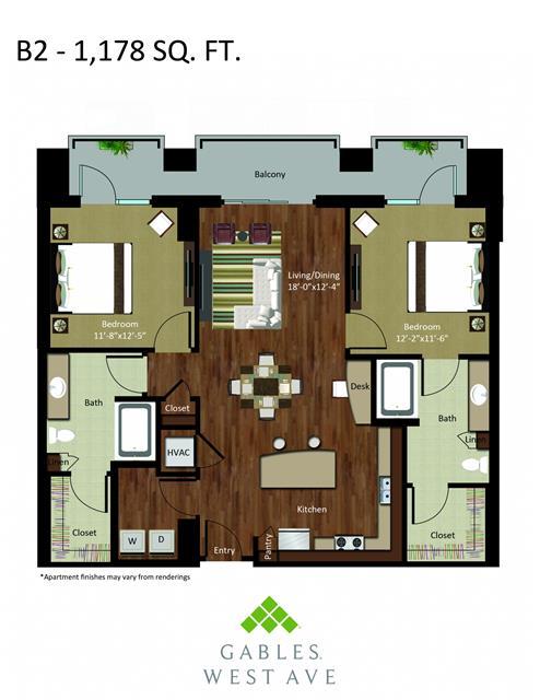 1,178 sq. ft. DB2 floor plan