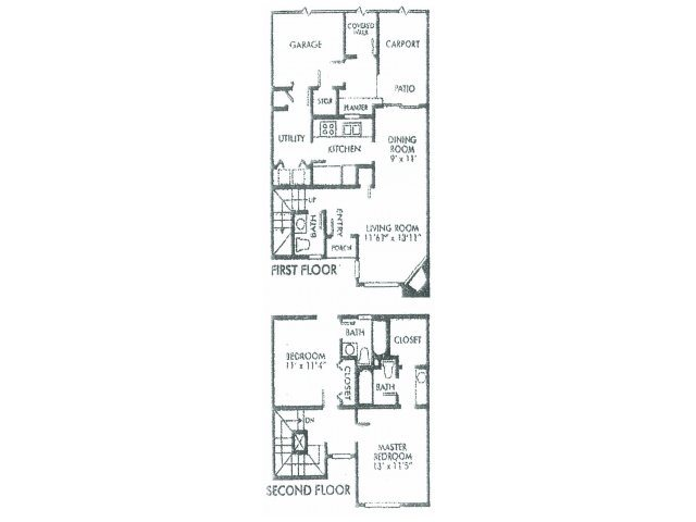 1,157 sq. ft. A floor plan