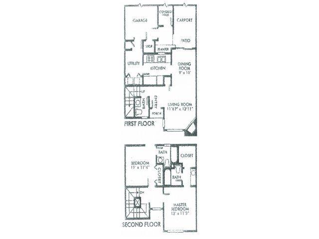 1,157 sq. ft. A floor plan
