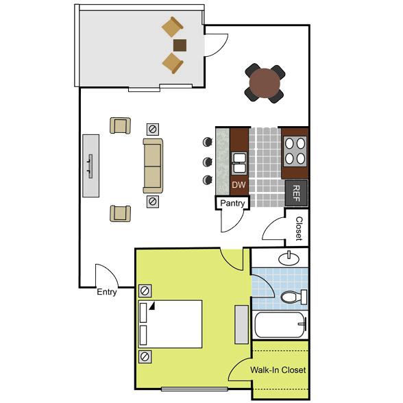 683 sq. ft. A1 floor plan