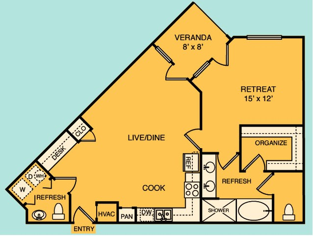 873 sq. ft. A2 floor plan