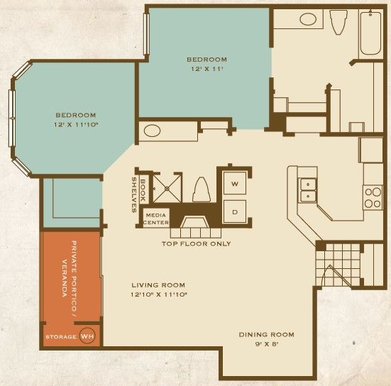 1,097 sq. ft. B2 floor plan