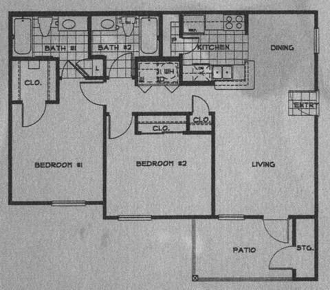 664 sq. ft. 50% floor plan