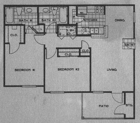 664 sq. ft. 50 floor plan