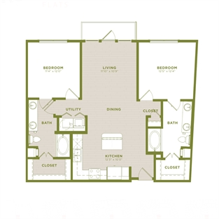 1,089 sq. ft. B4a floor plan